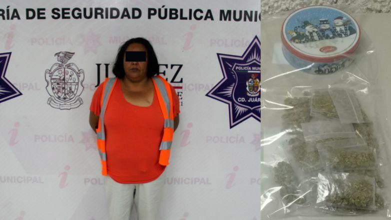 Escondía marihuana en recipiente de galletas, la arrestan