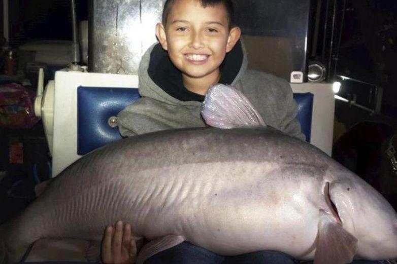 Niño atrapa pez gato de 19 kilos en Nuevo México