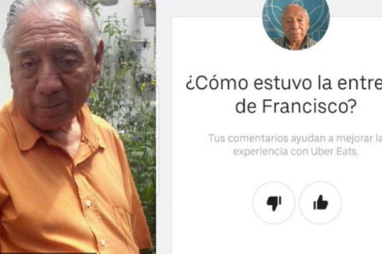 ¡Tengan paciencia! Abuelito de 74 años reparte pedidos de Uber Eats a pie