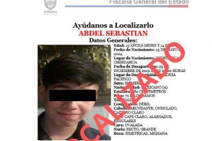 Encuentran a adolescente reportado como desaparecido