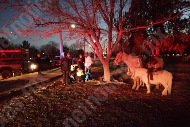 Se lesionan tras caer de caballos en El Chamizal