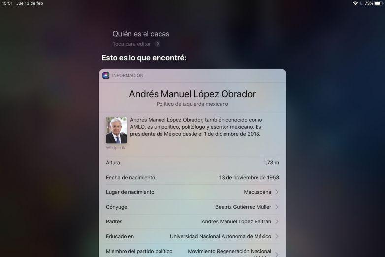 Siri relaciona a 'El Cacas' con AMLO e internautas se burlan del presidente