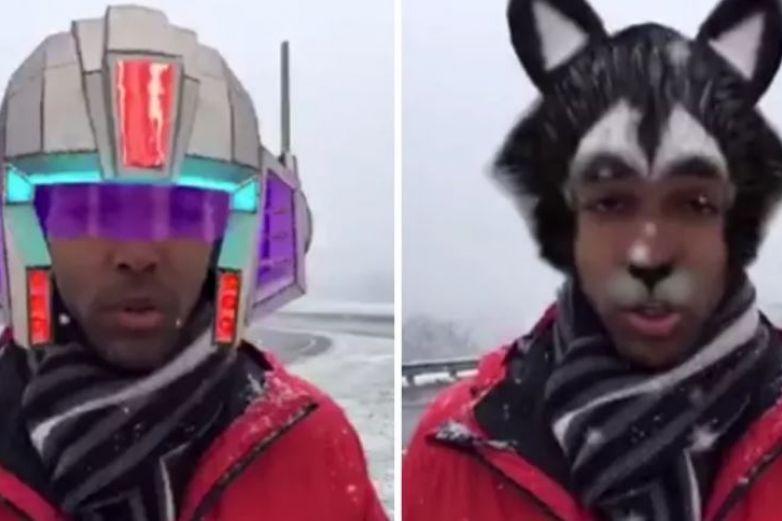Reportero activa filtros de Facebook sin querer, y así apareció en vivo