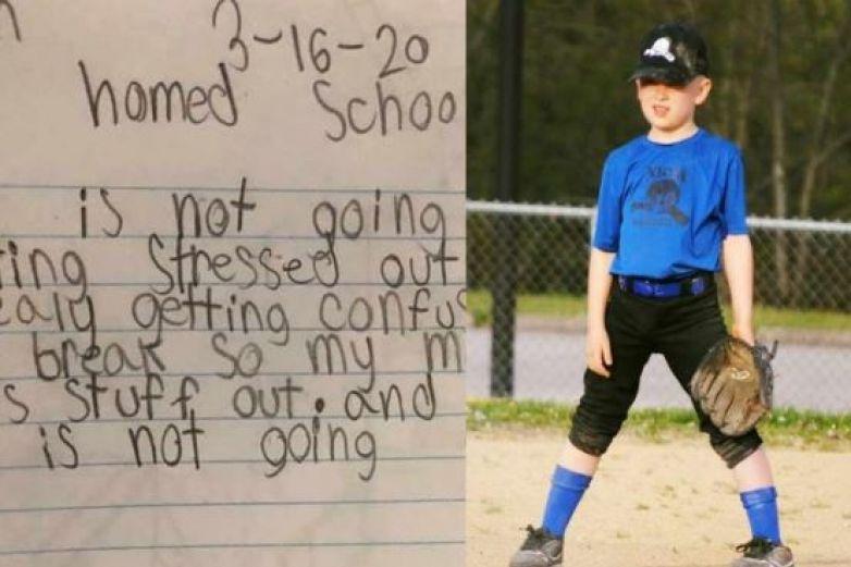 Niño escribe tierno mensaje por lo que sufre con clases en casa