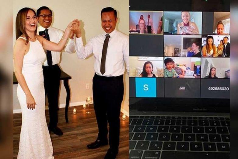 Pareja se da el 'sí acepto' en ceremonia virtual de Zoom