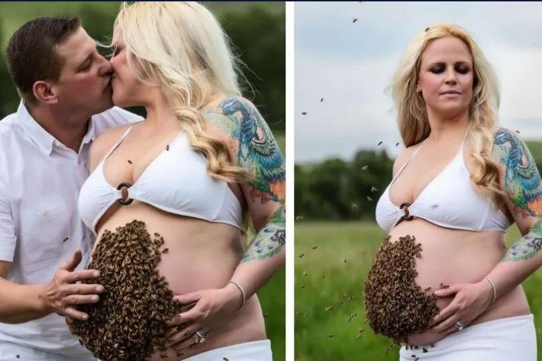 Embarazada se toma fotos con la panza cubierta de abejas y desata polémica