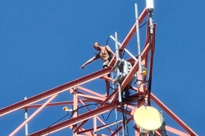 Hombre vuelve a lo alto de torre