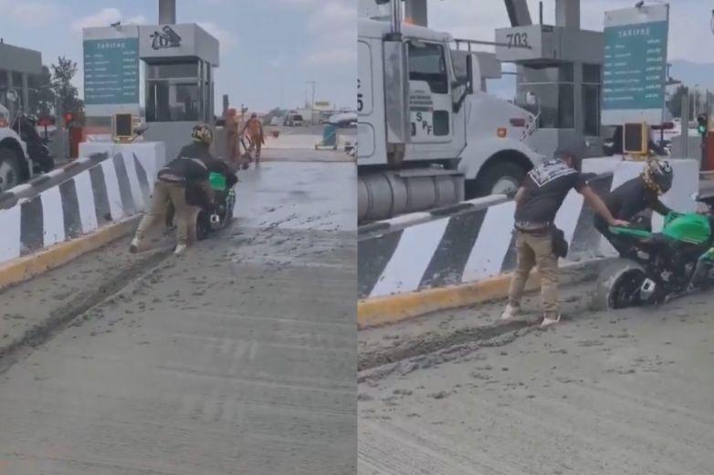 Intentan evadir caseta y su moto queda atrapada en cemento fresco