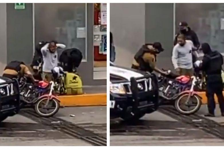 Viralizan video de policía sembrando droga a joven repartidor