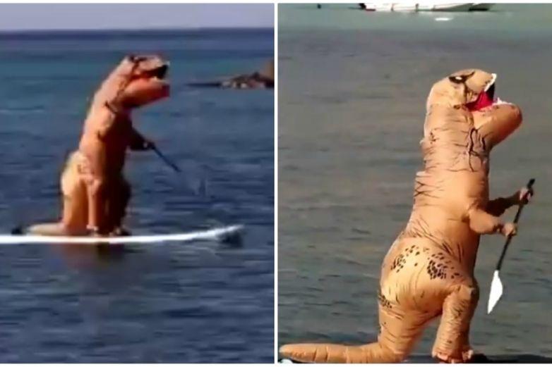 'Dinosaurio' aparece en playa de Italia; así reaccionaron los bañistas