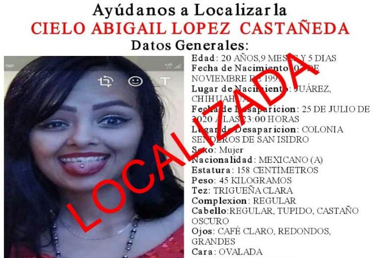 Localizan a joven reportada como desparecida en Senderos de San Isidro