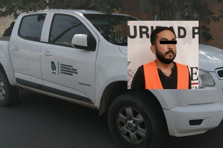 Detienen otra vez a paseño, ahora por robar camioneta de Gobierno del Estado