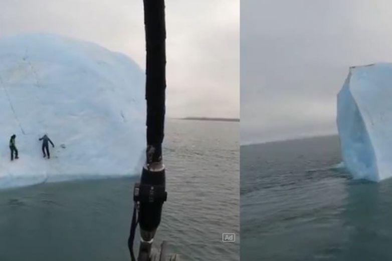 Captan momento en que hombres caen de iceberg