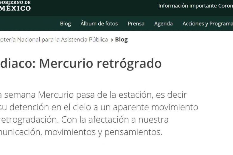 'Mercurio retrógrado', se burlan de blog de horóscopos de Gobierno