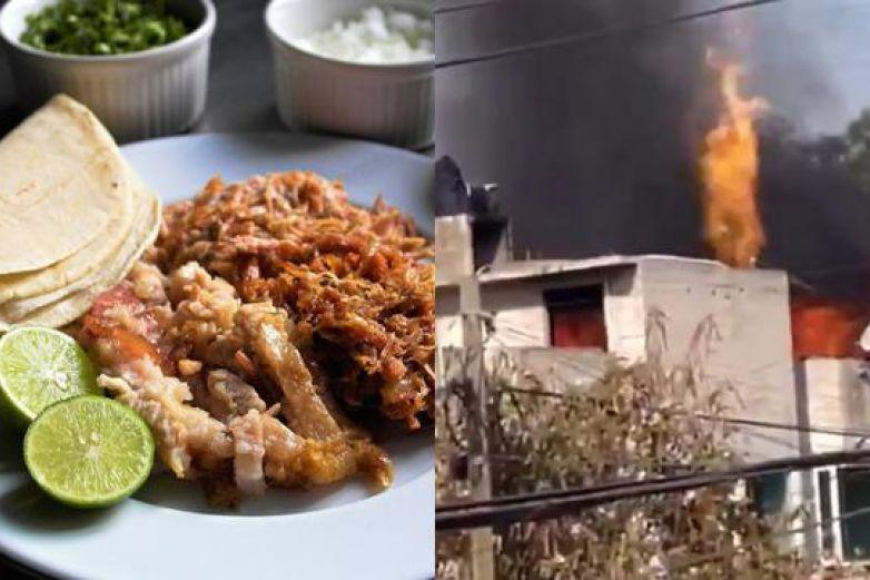 VIDEO: Prepara carnitas y provocan un incendio