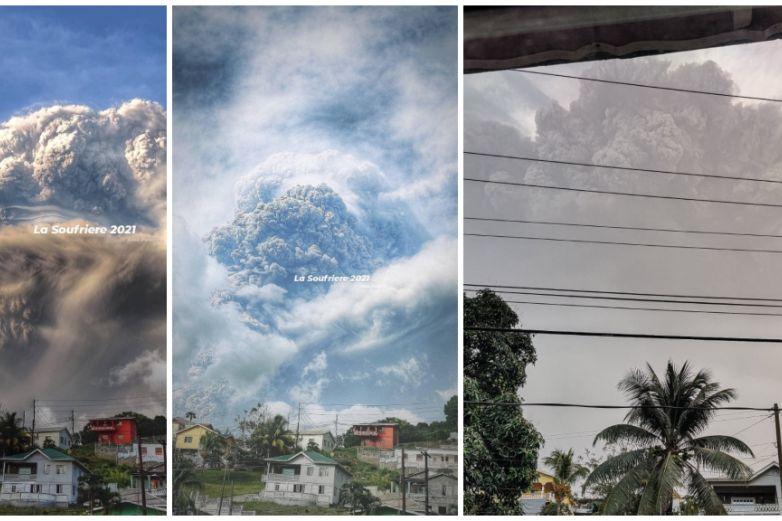 Así se vio la erupción del volcán La Soufrière