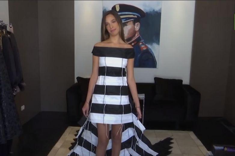 VIDEO: Crean vestido con 300 cubrebocas
