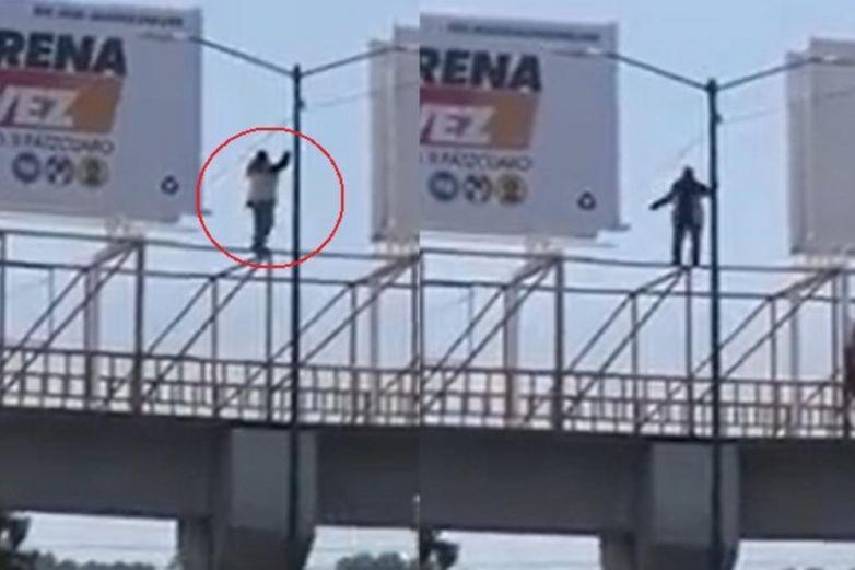 VIDEO: Baila sobre puente peatonal