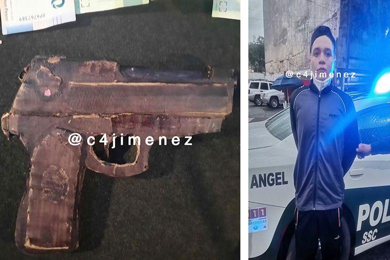 Roba 2 mil pesos con arma de cartón; lo detienen
