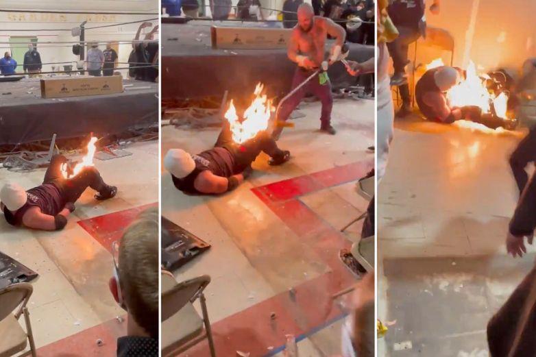 Luchador se quema la entrepierna enmedio de una pelea