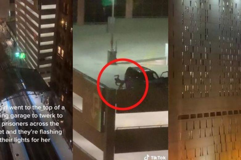 Video: Mujer perrea para presos desde una azotea