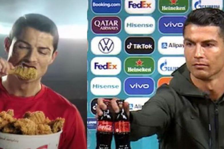 ¿Pollo frito sí, pero Coca Cola no? Critican a Cristiano Ronaldo
