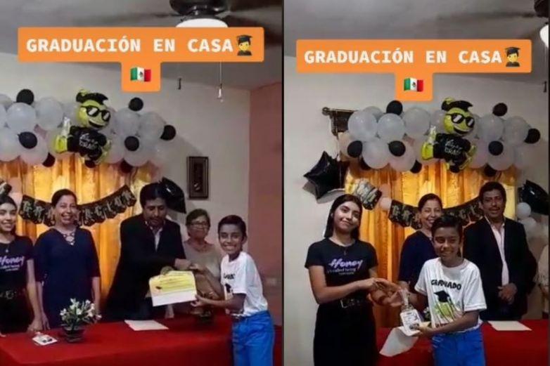 Video: Familia le organiza graduación en casa y se hace viral
