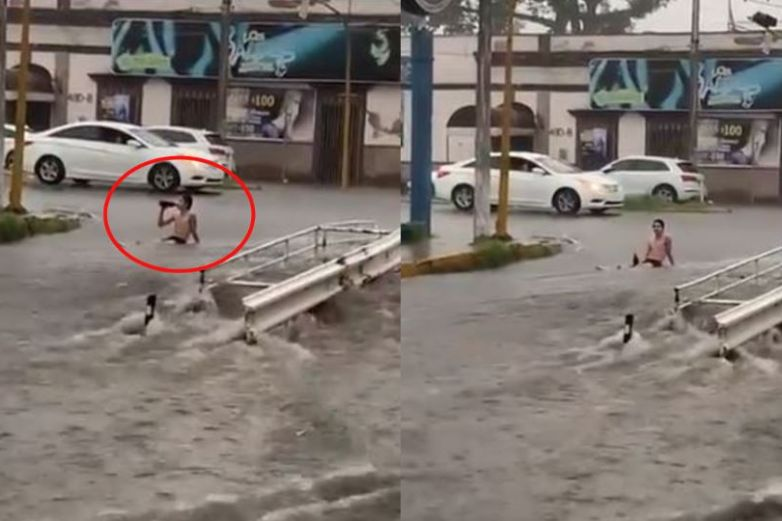 Video: ¿Ir a la playa?, joven se baña en la lluvia en Culiacán