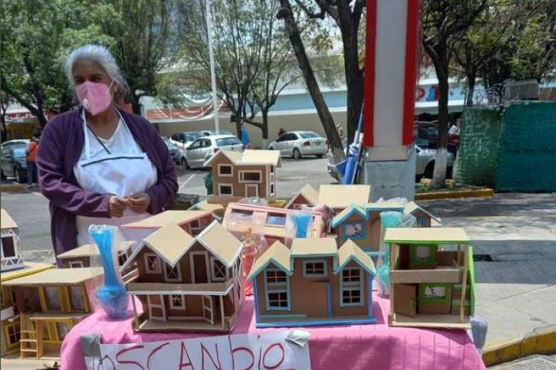 Abuelita vende casas de cartón a cambio de despensa