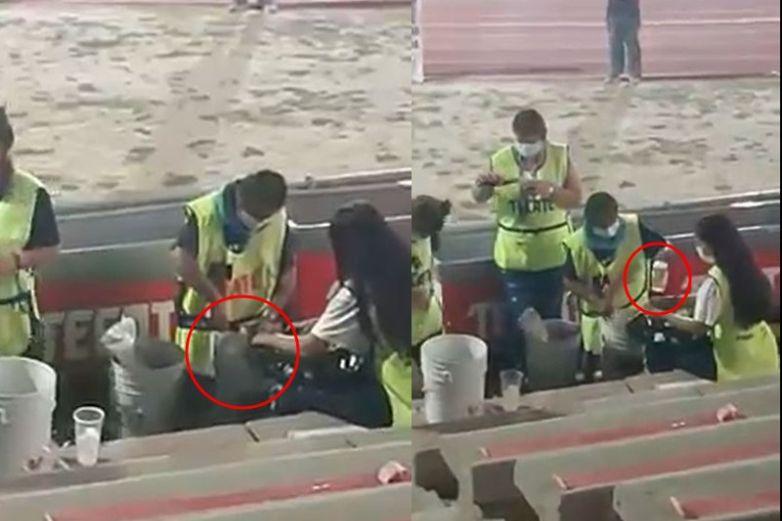 Video: Rellena envase de suero con cerveza en estadio